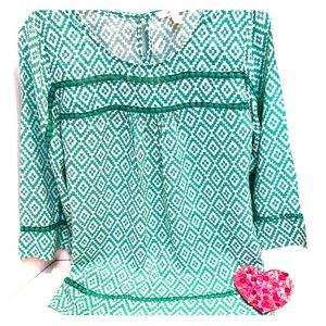 ANTHROPOLOGIE SKIES ARE BLUE crew neck blouse.